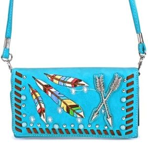 Turquoise Arrow & Feather Western Wallet
